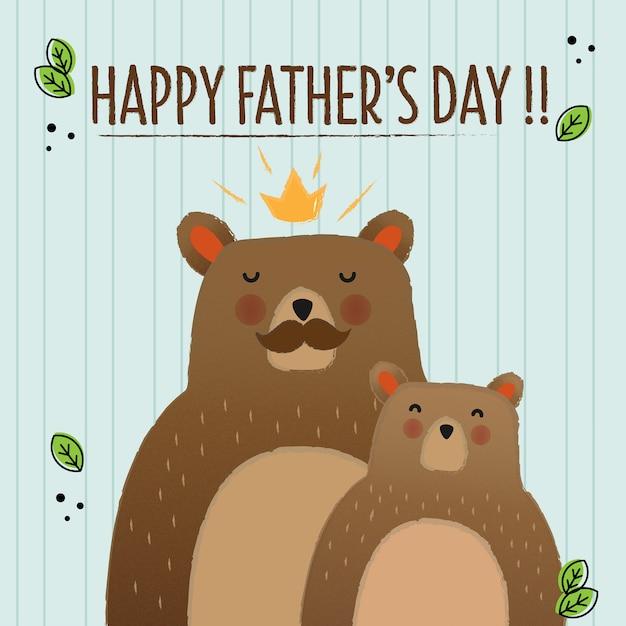 Carte d'ours pour la fête des pères Vecteur Premium