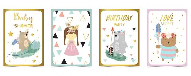 Carte pastel avec ours, fille, flèche Vecteur Premium
