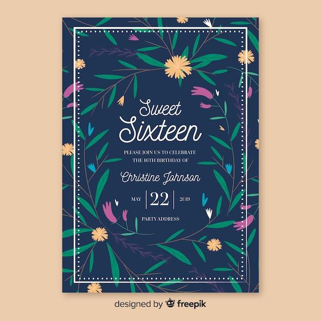 Carte de plantes dessinées à la main seize anniversaire Vecteur gratuit