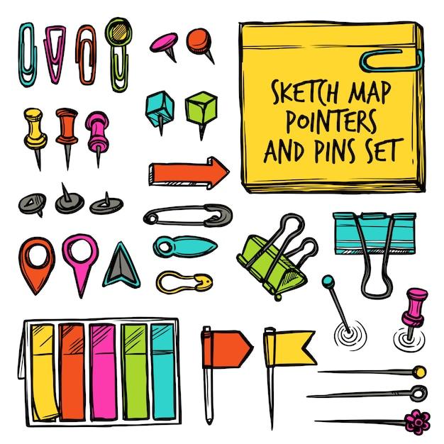 Carte pointeurs et pins croquis Vecteur gratuit