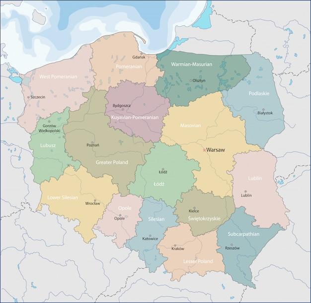 Carte De La Pologne Vecteur Premium