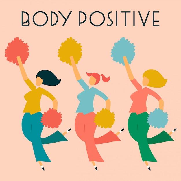 Carte positive du corps avec les dames. Vecteur Premium