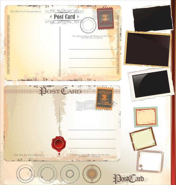 Carte postale ancienne grunge vintage retour. illustration vectorielle Vecteur Premium
