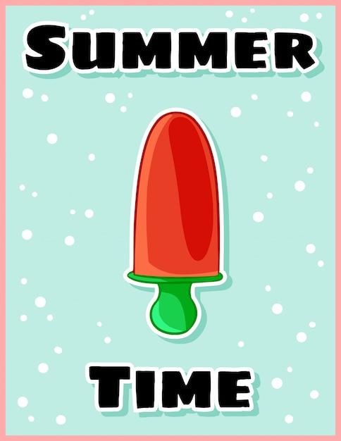 Carte Postale De Bande Dessinée Mignonne De Crème Glacée De Fruit D'heure D'été Vecteur Premium