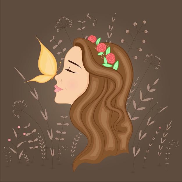 Carte Postale Cadeau Avec Belle Fille De Profil De Profil Avec Couronne Sur La Tête Et Papillon Vecteur Premium