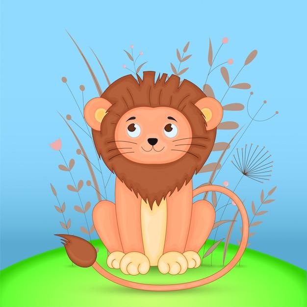 Carte postale cadeau avec lion d'animaux de dessin animé Vecteur Premium