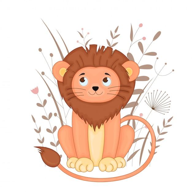 Carte postale cadeau avec lion dessin animé Vecteur Premium