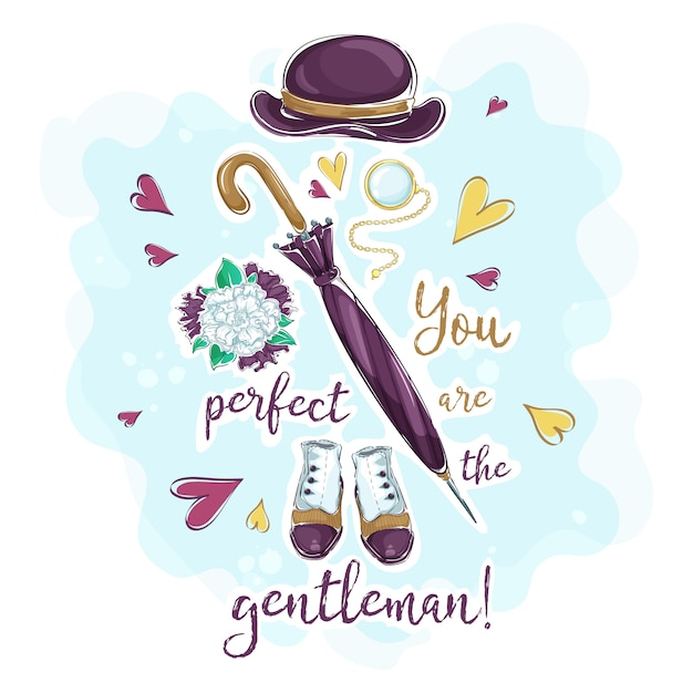 Une Carte Postale Avec Une Composition D'accessoires Pour Un Gentleman Vecteur Premium