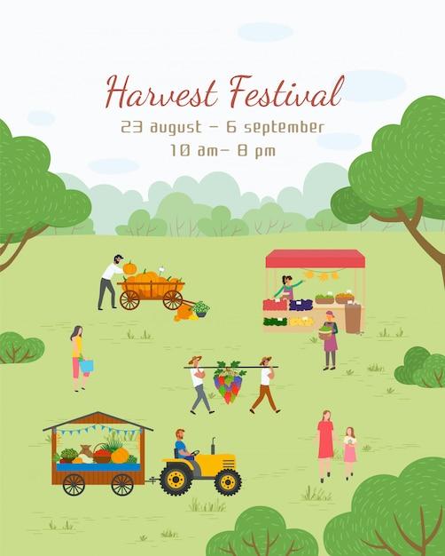 Carte postale du festival des récoltes, foire du vecteur alimentaire Vecteur Premium