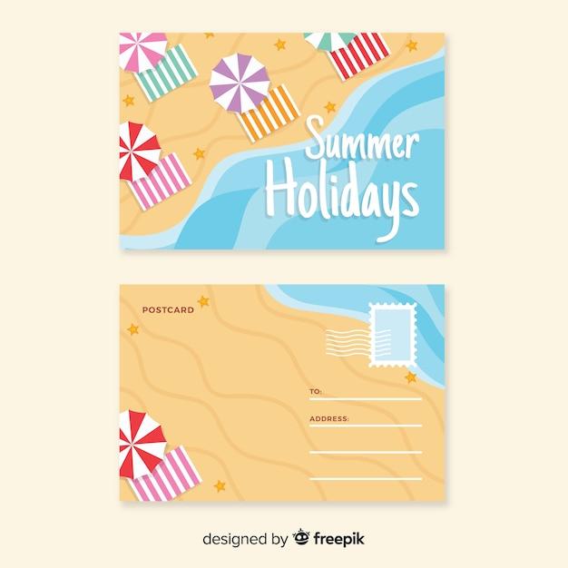 Carte postale du rivage estival Vecteur gratuit