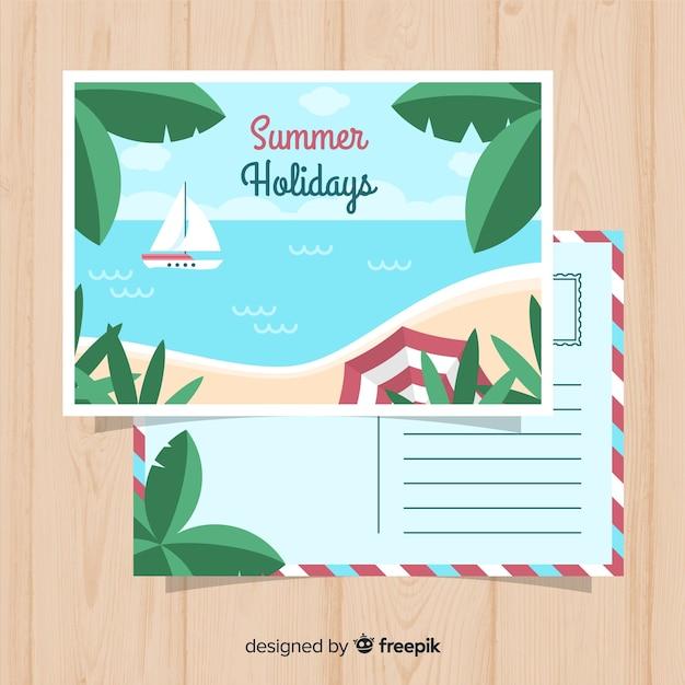 Carte Postale Du Rivage De Vacances D'été | Vecteur Gratuite