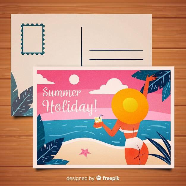 Carte postale été fille bikini dessiné à la main Vecteur gratuit