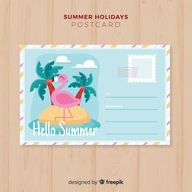 Carte postale été île dessiné à la main Vecteur gratuit