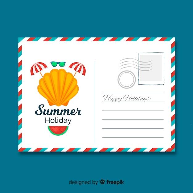 Carte postale d'été Vecteur gratuit