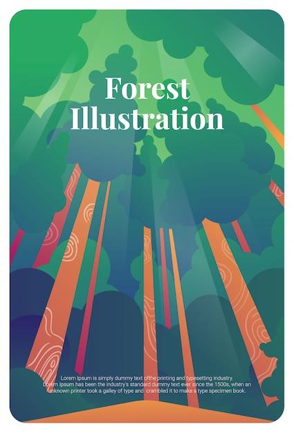 Carte postale de forêt illustration carte de voeux   Télécharger des Vecteurs Premium