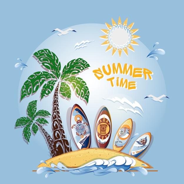 Carte postale avec île, palmier, mer et un jeu de planches de surf. Vecteur Premium