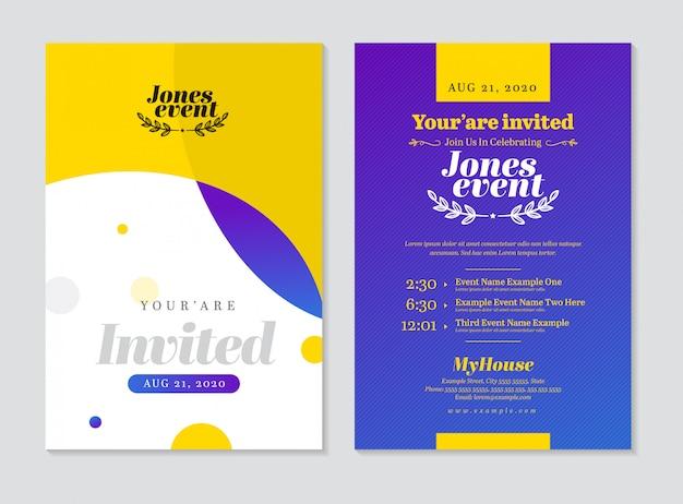 Carte postale d'invitation d'événement recto verso Vecteur Premium