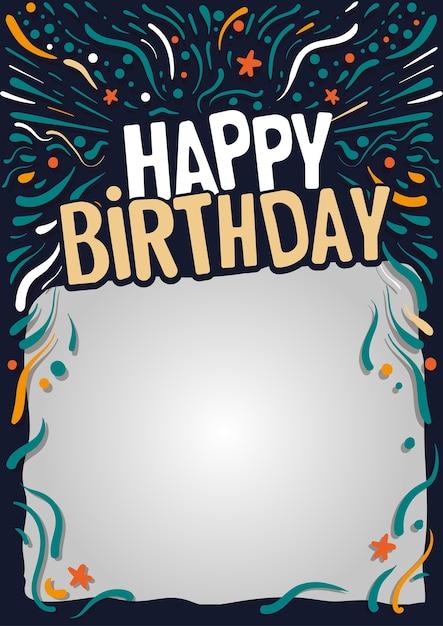 Carte postale joyeux anniversaire Vecteur Premium