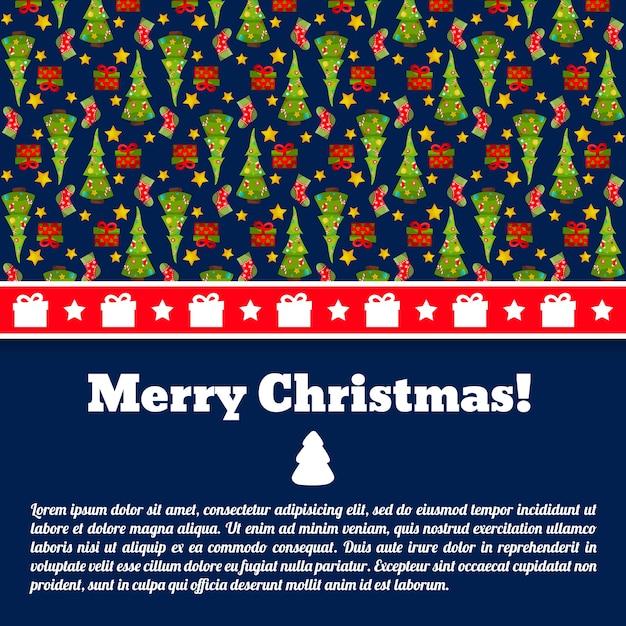 Carte Postale Joyeux Noël Bleu Foncé Avec Champ De Texte Et Sapins Vecteur gratuit