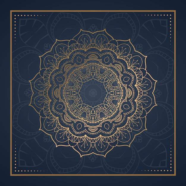Carte Postale De Mandala D'ornement De Luxe Vecteur Premium