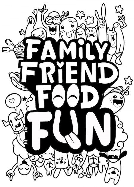 Carte postale de nourriture d'ami de famille. citation drôle au sujet de la vie: impression de typographie pour la conception de t-shirt Vecteur Premium
