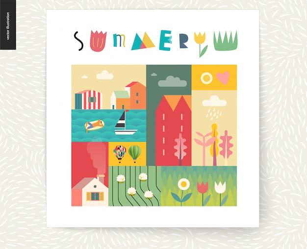 Carte postale de paysage d'été idillique Vecteur Premium