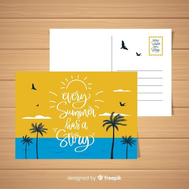 Carte postale de paysage de plage de vacances d'été Vecteur gratuit
