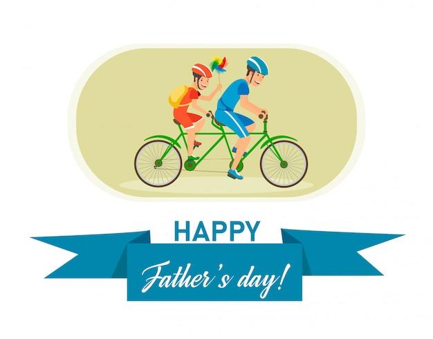 Carte postale plate avec inscription fête des pères heureux. Vecteur Premium