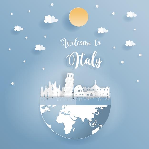 Carte postale promouvant les monuments célèbres de l'italie Vecteur Premium