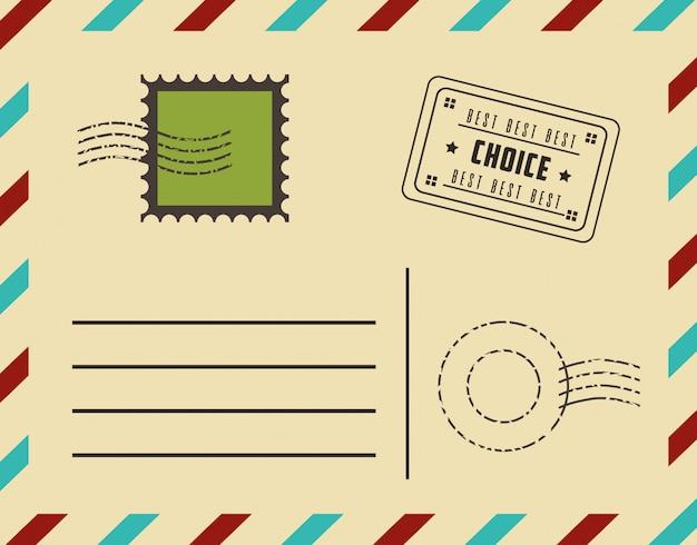 Carte postale de qualité supérieure avec timbres Vecteur gratuit