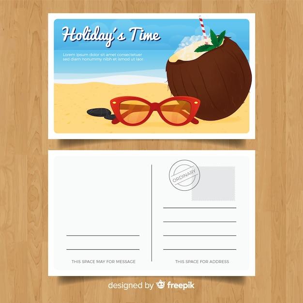 Carte postale réaliste de vacances d'été Vecteur gratuit