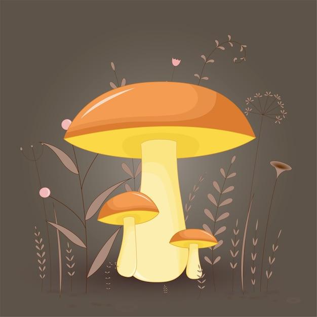 Carte postale avec suillus de champignons sur un fond floral avec des branches et des plantes. Vecteur Premium