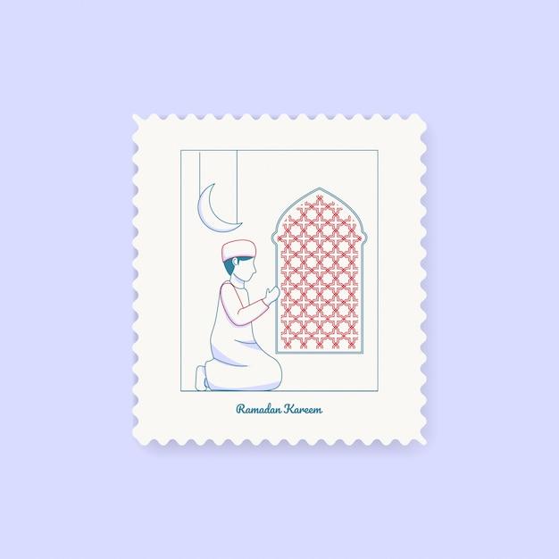 Carte postale de timbre de ramadan kareem Vecteur Premium
