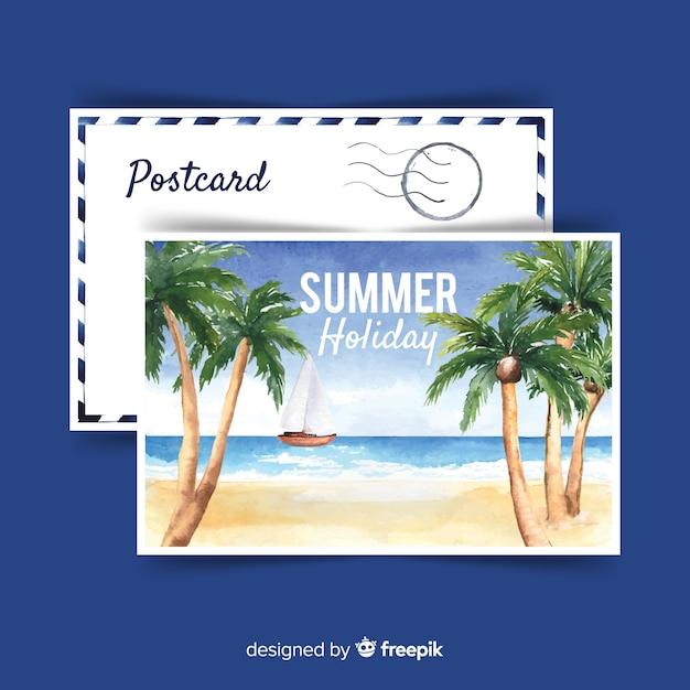 Carte postale de vacances d'été aquarelle Vecteur gratuit