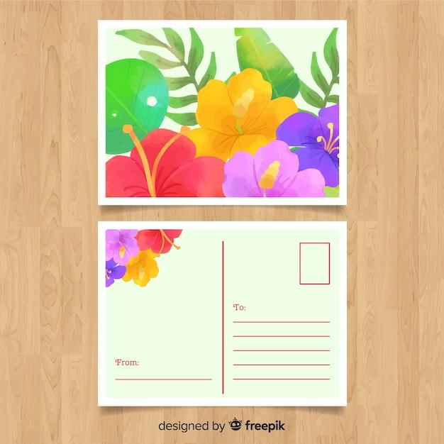 Carte Postale De Vacances D Ete Aquarelle Vecteur Gratuite
