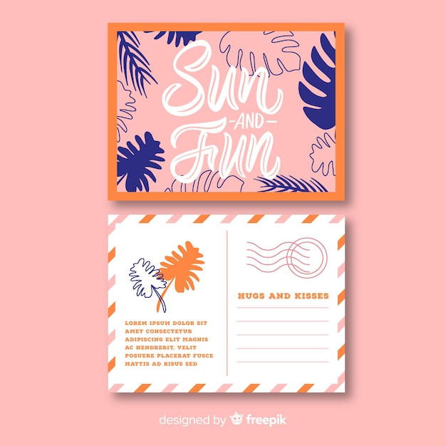 Carte postale de vacances d'été dessiné à la main Vecteur gratuit