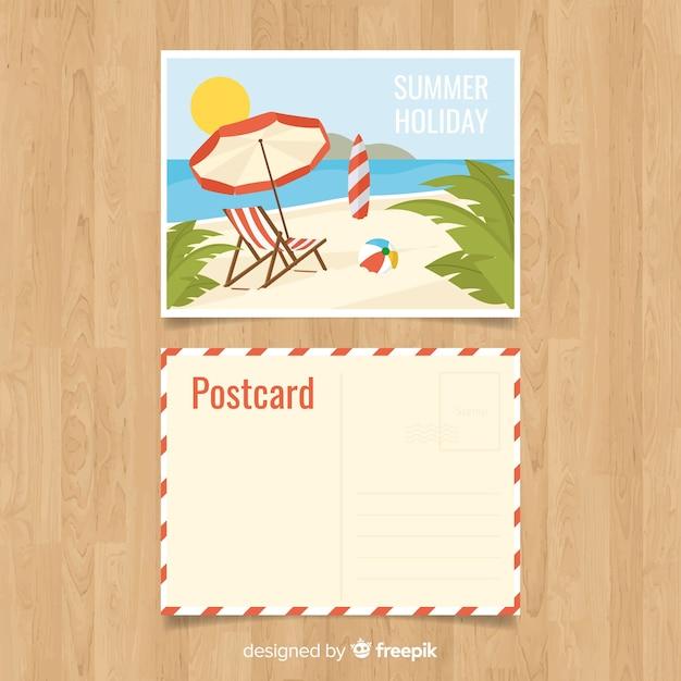 Carte postale de vacances d'été plat Vecteur gratuit
