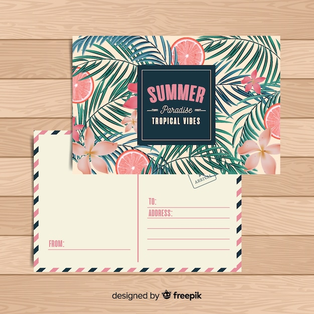 Carte postale de vacances d'été tropicale plat Vecteur gratuit
