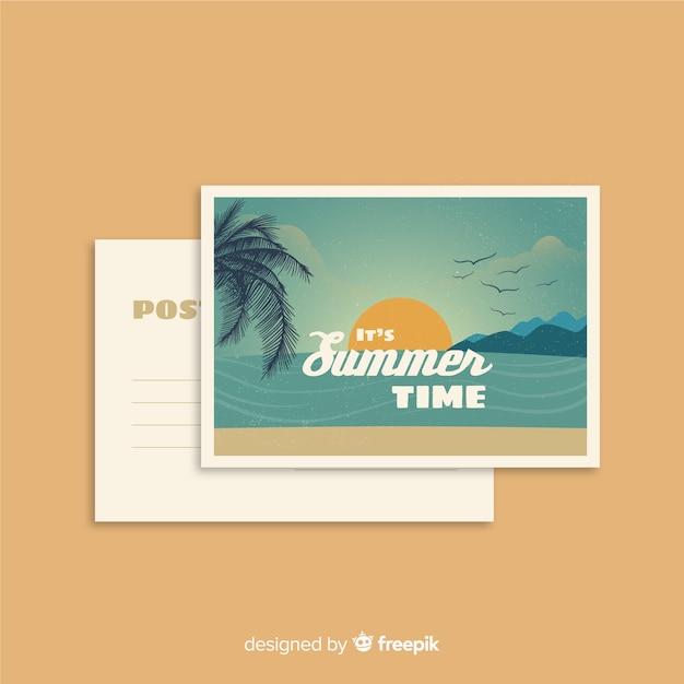 Carte postale de vacances d'été vintage Vecteur gratuit