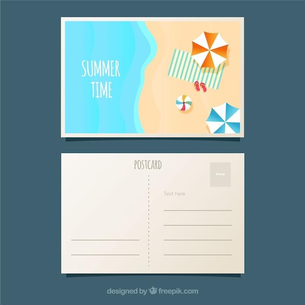Carte postale de vacances d'été avec vue de dessus de plage Vecteur gratuit