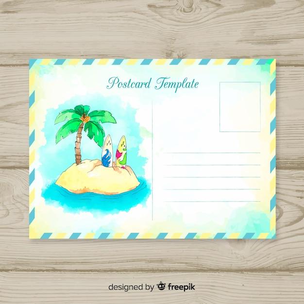 Carte Postale De Vacances D Ete Vecteur Gratuite