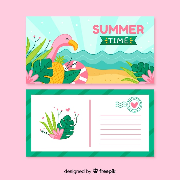 Carte Postale De Vacances D'été | Vecteur Gratuite