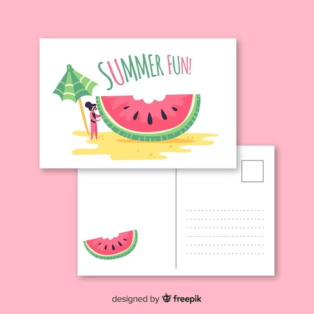 Carte postale de vacances d'été Vecteur gratuit