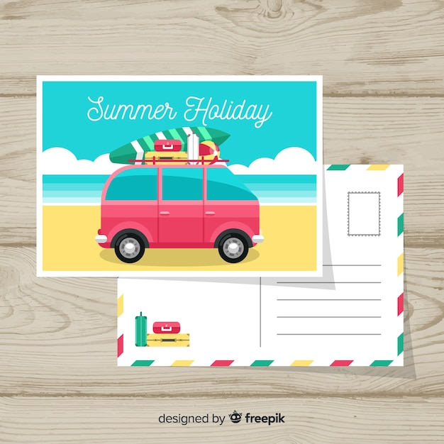 Carte postale de vacances Vecteur gratuit