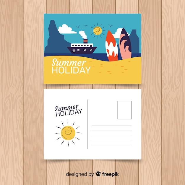 Carte Postale De Vacances   Vecteur Gratuite