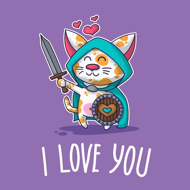 Carte postale de vecteur sur chat amoureux Vecteur Premium