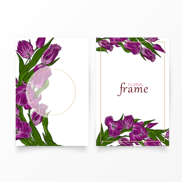 Carte postale de vecteur avec des fleurs de tulipe rose foncé floral. Vecteur Premium