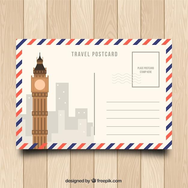 Carte postale de voyage au design plat Vecteur gratuit