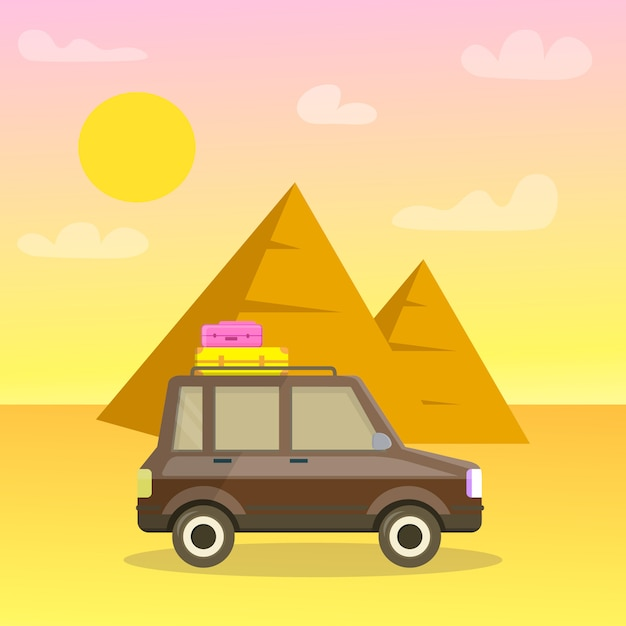 Carte Postale De Voyage De Dessin Animé De Pyramides De Gizeh, Affiche. Vecteur Premium