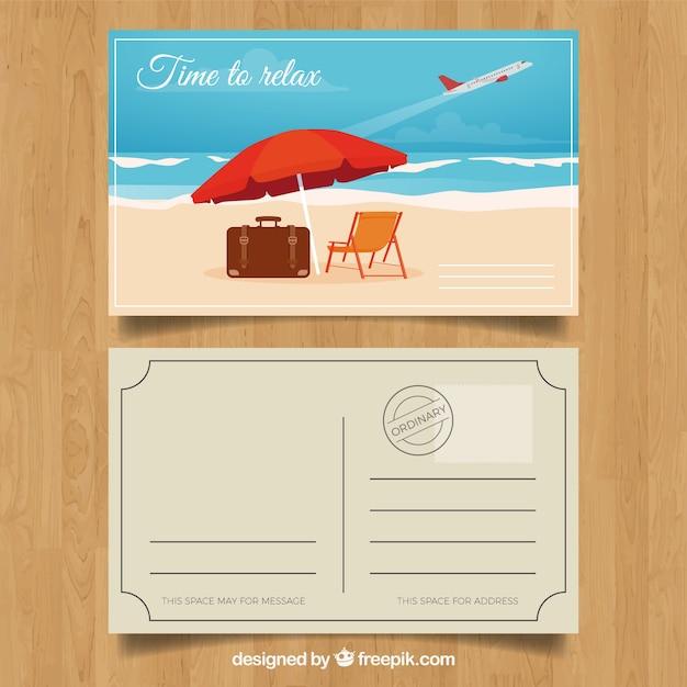 Carte postale de voyage d'été avec un design plat Vecteur gratuit